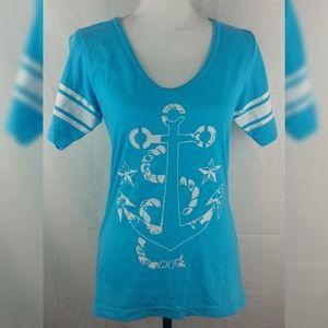 Fifth Sun LG Blue Anchor Nautical Top Cotton Blend